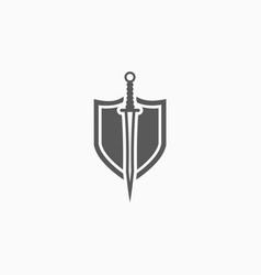 Sword and shield icon vector