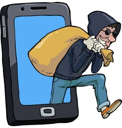 Thief of smartphone vector