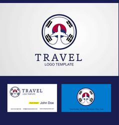 Travel korea south creative circle flag logo vector