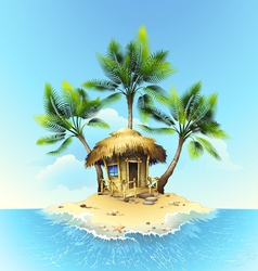 Tropical bungalow on island in ocean vector