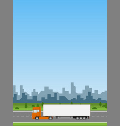 truck on the road delivery concept vector image