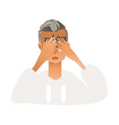 Upset regretful young woman covering her eyes vector