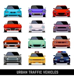 Urban traffic vehicles car icons in flat style vector