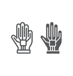 vr glove line and glyph icon virtual and vector image