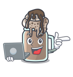 with laptop milkshake character cartoon style vector image