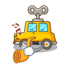 With trumpet cartoon clockwork toy car for gift vector