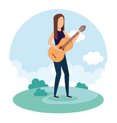 woman playing acoustic guitar vector image