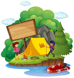 Wooden sign behind the camping site vector