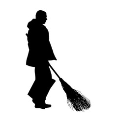 Worker sweeping with besom silhouette man job vector