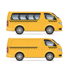 yellow taxi minivans side view vector image