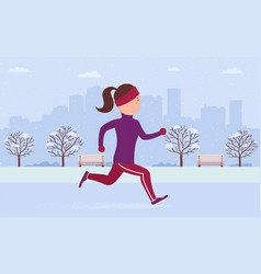 young woman in sportswear jogging or running in vector image