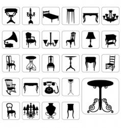 antique furniture set vector image