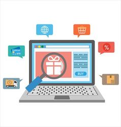 Laptop with online shopping icons vector image