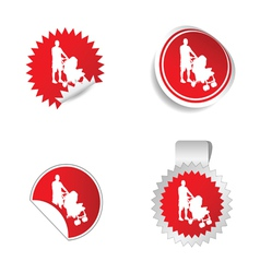 sticker with father and baby vector image