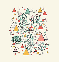 succulent and triangles pattern vector image vector image