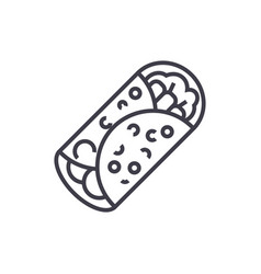burrito line icon sign on vector image vector image