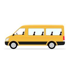 cartoon yellow minibus passengers vector image