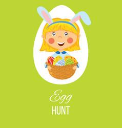 easter egg hunt card vector image