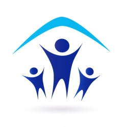 family and house roof icon vector image