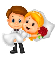 Kids cartoon Playing Bride and Groom vector image vector image