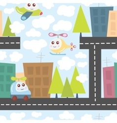 Kids pattern with city landscape cute helicopter vector image