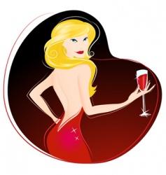 woman drinking wine vector image