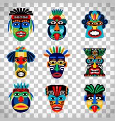 aztec mask set on transparent background vector image vector image