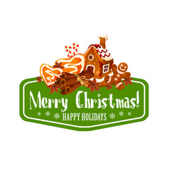 christmas gingerbread cookie greeting card design vector image