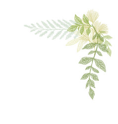 floral hand drawing green leaf composition vector image