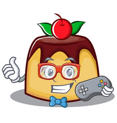 gamer pudding character cartoon style vector image vector image