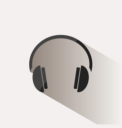 headphones icon on a beige background with shade vector image vector image
