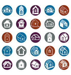 Houses abstract icons vector image vector image