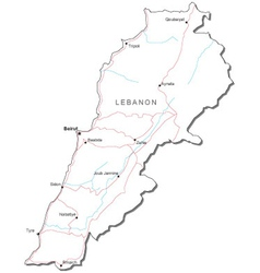 Lebanon Black White Map vector image vector image