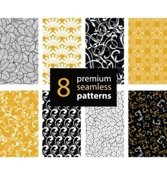 Set of Black White and Gold Yellow vector image