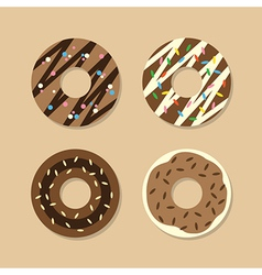 Set Of Chocolate Donuts vector image