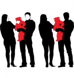 silhouette of new happy family vector image vector image