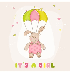 Baby Bunny with Parachute - Baby Shower Card vector image vector image