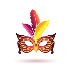 carnival mask with feathers vector image vector image