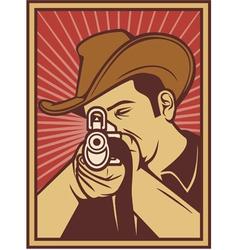 Cowboy shooting a rifle vector image