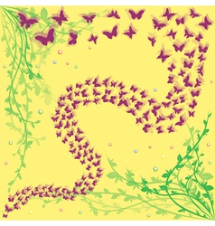 Lot of butterflies on a floral background vector image vector image
