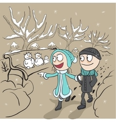 Lovers man and woman walk in winter park Loving vector image vector image