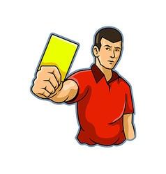 Referee raise yellow card vector