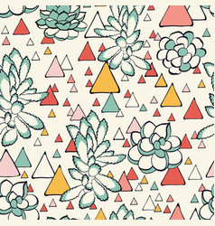 succulent and triangles seamless pattern vector image vector image
