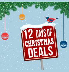 12 days christmas deals vintage rusty metal vector