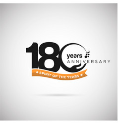 180 years anniversary logo with ribbon and hand vector