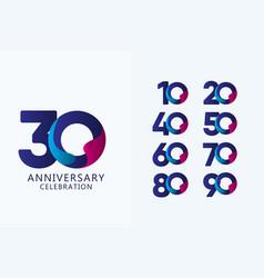 30 years anniversary celebration set blue logo vector