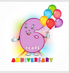 6 anniversary funny digits vector