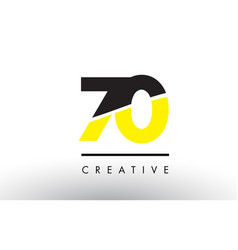 70 black and yellow number logo design vector