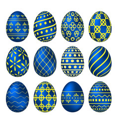 a set of blue easter eggs with patterns vector image