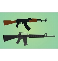Ak-47 vs m16 comparation with green background vector